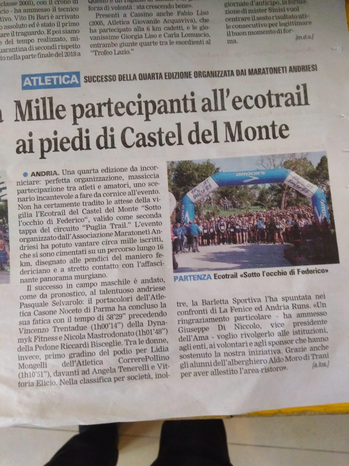 Gazzetta del Mezzogiorno Andria ecotrail 2019-03-31