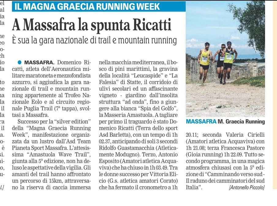 Gazzetta del Mezzogiorno - articolo Amastuola Trail Massafra